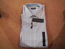Marc Anthony 100% Cotton Men's Dress Shirt NWT Slim Fit White w/Blue Pin Stripes