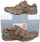 Mens New Brown Velcro Casual Leisure Trainers Shoes Size 6 7 8 9 10 11 12