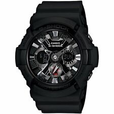 Casio G-Shock GA-201-1AER Dual Black Mens Chronograph World Time Alarm Watch New