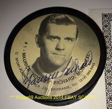 MAURICE RICHARD Signed AUTO 1991 SPORT FLASH Photo PUCK Montreal CANADIENS HOF