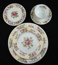 Noritake N275 - 5 PIECE PLACE SETTING Multicolor Floral Band/Center