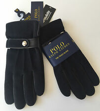 RALPH LAUREN TECH FRIENDLY BLACK WOOL & LEATHER GLOVES WITH THINSULATE SIZE M