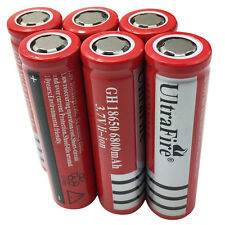 6X 18650 Batteries 6800mAh 3.7V Rechargeable Li-ion Flat Top Battery Flashlight