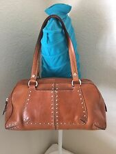 MICHAEL KORS VINTAGE TAN LEATHER STUDDED SATCHEL SHOULDER HANDBAG