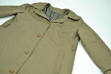 Vintage Womens Pendleton Wool Plaid Lined Olive Trench Coat Size 8
