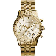 Michael Kors Women's MK5676 Ritz Chronograph Gold Dial Gold Steel Bracelet Watch