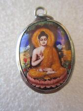 Meditating Buddha Amulet Enamel Pendant Lotus Flower Charm Necklace Jewelry