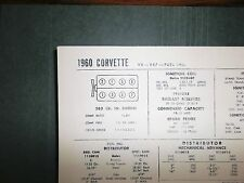 1960 Chevrolet Corvette 283 V8 CI Fuel Injection SUN Tune Up Chart Great Shape!