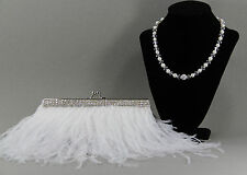 White Feather Bridal Clutch, Bridal Clutch, Evening Bag,with Pearl Necklace