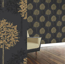 "Black and Gold, Tree Design ""Boulevard""  Wallpaper by Arthouse (417902)"