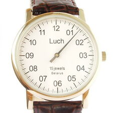 Stylish One Hand Luch Mechanical Wristwatch Men's leather Fashion Vintage White