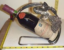 Vtg WINE BOTTLE HOLDER/Caddy - Silver Plate Tuscany Grape Design