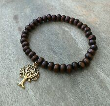 Mens/Womens Wood Beaded Surfer Bracelet with Antique Gold Tree of Life Charm