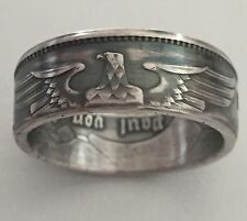 1938 Nazi Germany Third Reich Silver Coin Ring 5 Mark sz 10 Biker WW2 Jewelry
