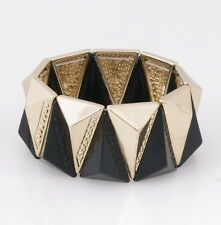Bar III - Hematite 2 Tone 3D Pyramid Spike Geometric Stretch Bangle Bracelet