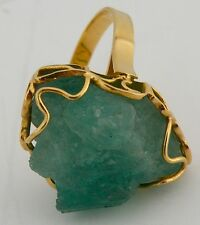 Fine vintage 18k Yellow gold & huge rough Emerald, CARIBE large ring, size 8