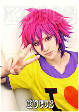 663 No Game No Life Sora Rose Red mix Purple Short Cosplay Wig