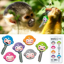 6 Fred Friends Cute Monkey Cool Chimp Key Cap Covers Six Color Keychain Set Gift