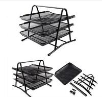 Wire Mesh Document Tray Office 3 Tier A4 Letter Paper Organiser Filing Holder A1