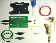 Emergency Crystal Radio  DIY KIT  germanium diode  AM receiver Green  Holder