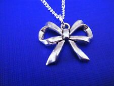 "FREE GIFT ** ANTIQUED SILVER PENDANT With 16""  NECKLACE Large Bow"