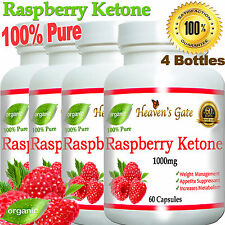 RASPBERRY KETONE 1000mg WEIGHT LOSS DIET FAT BURNER 100% PURE 4 BOTTLES *