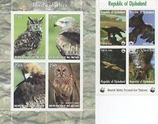 PAIR OF BIRDS OF PREY WILD ANIMAL EAGLE OWL MNH STAMP SHEETLETS