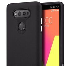 For LG V20 - HARD RUBBER HYBRID HIGH IMPACT ANTI-SLIP PHONE CASE COVER in BLACK
