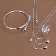 925 sterling silver drop jewelry sets necklace bracelet bangle earring ring New