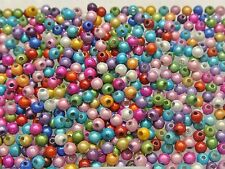 500 Mixed Color 3D Illusion Acrylic Miracle Round beads 4mm Spacer Craft DIY