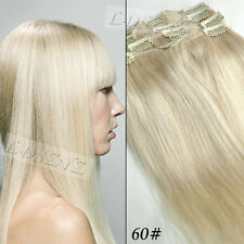 CLIP in 100% REAL HUMAN HAIR EXTENSIONS ,15inch 70gram ,#60 lightest blonde