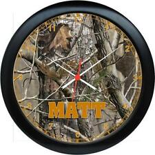 "Personalized Real Tree Camo Rifles Hunting Recroom/Den Decor 10.75"" Wall Clock"