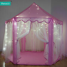 Princess Castle Tent with Fairy Lights Play House Large Kids Canopy Girl Teepee