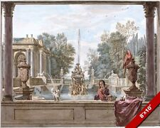 ROMAN ITALIAN BATH GARDEN FOUNTAIN SCENE ITALY PAINTING ART REAL CANVAS PRINT