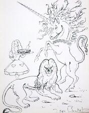 J. BOULLET - DESSIN ORIGINAL SIGNE (8) - DE L'AUTRE COTE MIROIR - LICORNE LION
