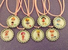 Party Favors Lot of 8 Lalaloopsy Bottle cap Necklace w/ organza bags NEW