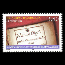 "Andorra 1998 - 250th Anniv of the ""Manuel Digest"" Art - Sc 503 MNH"