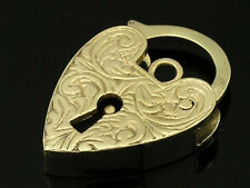 K003- Large ENGRAVED 9ct YELLOW GOLD Heart -PADLOCK Clasp with Key-hole