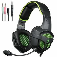 Headset & Mouse COMBO Set for PC Gaming, Optical, LED Headphones Microphone USB