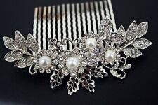 New beautiful elegant wedding flower bridal hair comb pearl and crystal 3096