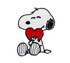 Peanuts - Snoopy with Red Heart Embroidered Iron On/Sew On Patch