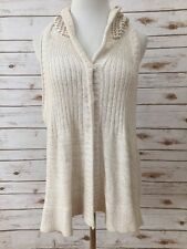 Free People Ivory Small Hooded Tunic Sweater Vest *3133