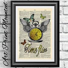 Montado Impresión de Arte En Antiguo Diccionario Libro página Steampunk Reloj Reloj Ilustraciones