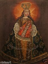 """Cuzco Religious Oil Painting Peruvian Folk Art 11x15"""" Crowned Madonna and Child"""