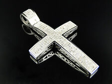Large Genuine Diamond Cross Pendant Charm 1.25 Ct In 10K White Gold Finish