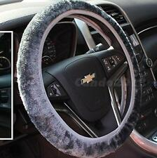 Soft Plush Car Steering Wheel Cover Gray Solid Winter Grips Car Accessory JMHG