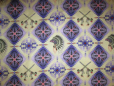 Native American Indian Headdress Peace Pipe Purple Pink Cotton Fabric FQ