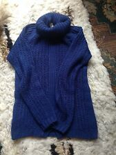 PULL AND BEAR Royal Blue Small Wooly Roll Neck Jumper Cable Knit Front Dart