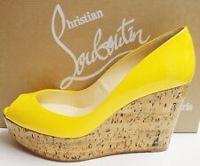 christian louboutin peep-toe cork wedges