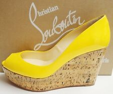 Christian Louboutin Une Plume 100 Peep Toe Cork Wedge Patent Shoes 37